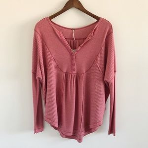 NWT Free People Leo Henley Top in Wild Rose XS